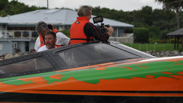 Director Michael Bay filming aboard the Statement 42' Ultimate